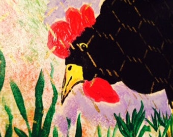CHICKEN BEHIND FENCE  painting by nita marked 1/2 off