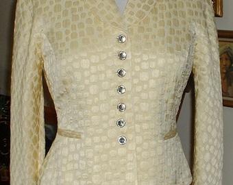 Retro Vintage CHRISTIAN DIOR Two Piece Ladies Suit Rhinestone Buttons Jacket & Skirt Size Four Alligator Pattern Pastel Yellow