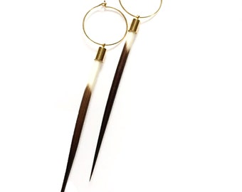 Boho Porcupine Quill and 14K Gold Filled Hoop Earring
