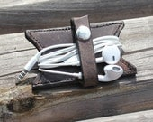 Leather Earbud Charger Holder Keeper