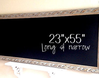 Narrow KITCHEN CHALKBOARD Long Rectangle Chalk Board Reclaimed Wood Look Gray Grey Kitchen Wall Organizer Blackboard MAGNETIC Chalkboard