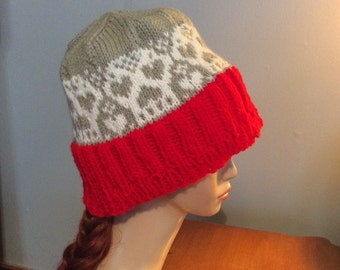 Knit Hat - Skull cap - Slouchy Beanie - hat with skull - knit hat sketleton - beanie skull hat- hat with skull - skully hat