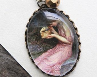 Psyche Opening the Golden Box Necklace. John William Waterhouse. (magnifying pendant art illustration jewelry antique romantic jewellery)