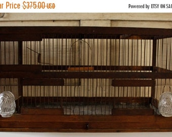 ON SALE SALE-Antique Aviary, Primitve Vintage Bird Cage, 1900's Rare Wood and Metal, Architectural Bird Cage, Collectible with original Feed