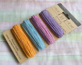 Hemp Cord Polished 1mm 20 Pound Pastel Colors Purple Rose LIght Blue Yellow