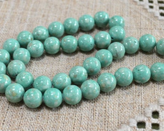 50pcs 8mm Green Magnesite Natural Gemstone Beads 16 Inches Strand