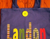 Boy's Large Personalized  School Tote (with button closure) - kids name tote birthday gift idea unique custom library book bag preschool