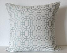 Ethan Allen Elan Spa geometric lattice muted blue decorative pillow cover