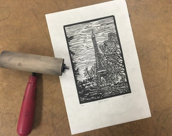 Paris Eiffel Tower Original Linocut Print
