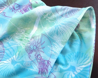 Jersey Infinity Scarf in Blue Green White and Purple with Nautilus Design