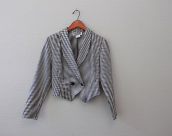 Vintage Checked Crop Blazer Jacket By LA Belle