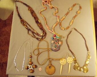 Vintage Lot 7 Ethnic Tribal Necklaces & 1 Pair Pierced Earrings Brass Wood Pottery Horn Bone 8563