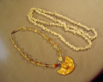 Vintage 1970s 2 Quartz Bead Necklaces Glass Beads 1 Ceramic Face Pendant Necklace 8676