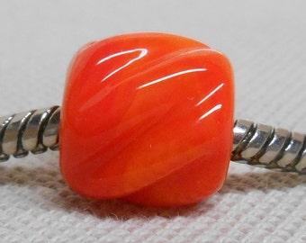 SRA, Glass Large Hole Lampwork Bead - Fits European Charm Bracelets, Textured Cylinder Bead, Bright Orange