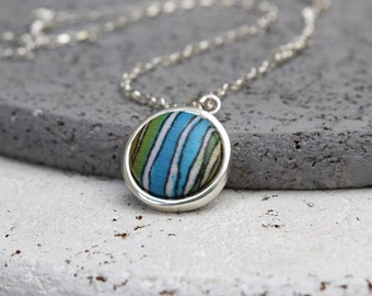 Mixed media jewelry, Fabric button necklace, Textile jewelry, Minimal necklace, Drop necklace, Sterling necklace, Dainty necklace