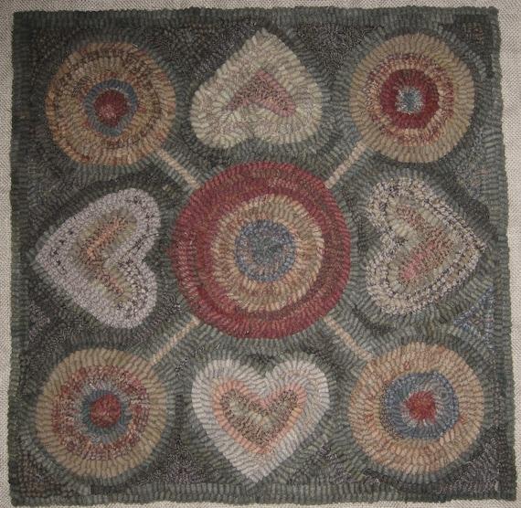 Rug Hooking Designs Primitive: Primitive Rug Hooking Pattern4 Hearts