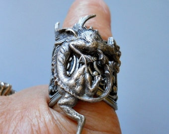 Silver Dragon Ring, Dragon Ring, Gothic Dragon Ring, Gothic Ring, Dragon, Steampunk Ring