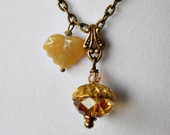 Autumn Acorn Necklace, Acorn Necklace, Autumn Necklace, Swarovski Acorn, Golden Acorn