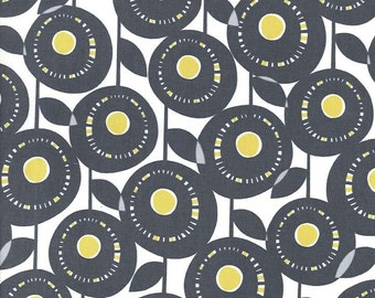 Aretha Flowers in Citron Gray - Michael Miller Fabrics