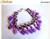 WOW Purple and Pink Bead Bracelet or Anklet- Chain maille