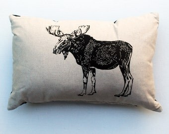 Rustic Woodland Moose Pillow, Lumbar Cushion, Original Moose Drawing, Country Cottage Style Throw Pillow