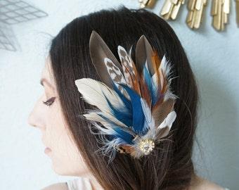 Bridal Duck Pheasant Feather Fascinator Rustic Emu Wedding Bride Headpiece Hair Clip Ivory Brown Sapphire Blue Burnt Orange Gold Rhinestones