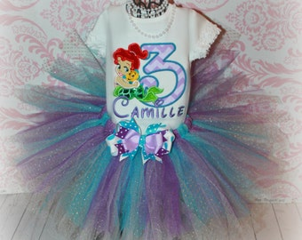 Girls Birthday Tutu Outfit Baby Ariel Little MERMAID Princess or Flounder inspired Purple & Green 3 Piece Glitter Set Pick Size, Name Colors