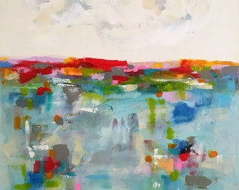 Large Colorful Abstract Seascape Original Painting -Horizon Brights 36 x 48