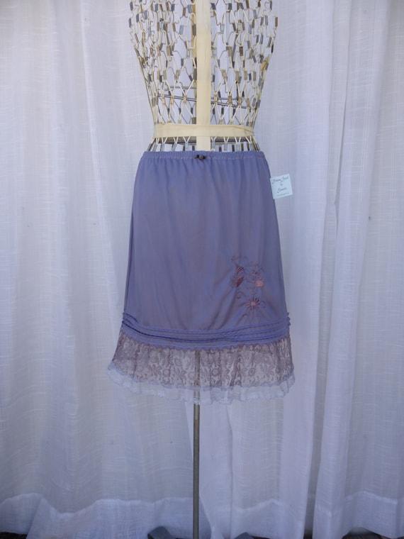 Ruffle Slip Skirt Small Silver Grey Glam Garb Handmade USA Romantic Victorian Steam-punk Vintage Embroidery Hand Dyed Rockabilly Boho Hippie