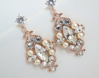 Rose Gold Pearl Earrings Swarovski Ivory Pearl Rhinestone Earrings Bridal Pearl Earrings Bridal Rhinestone Earrings Swarovski crystal GABY