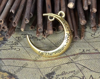 8 pc Antique Gold Tone Moon Charms ,Crescent Moon Charms and Findings, Pendant Findings , Jewelry Findings,