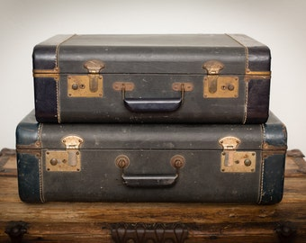 Two Navy Blue Suitcases, Rustic Luggage, Near Matching, Vintage 60s