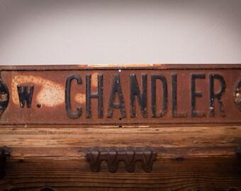 """W. Chandler Metal Street Road Sign, 24"""" x 6"""", West, Vintage Rustic"""