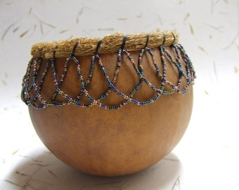 Vintage Gourd with Beadwork All Around the Top - Natural Gourd Color - Dried Grass Border held on by Black Thread - Black Interior