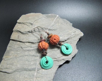 Lampwork and Sterling Silver Earrings - Terracotta and Jade