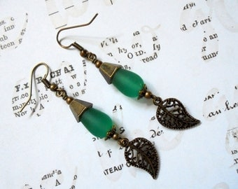 Aqua Blue Leaf Earrings (2957)