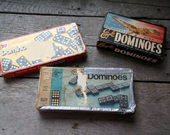Dominoes vintage Lot of 3 Dominoes Sets Complete Eagle Double Nine Whitman Double Nine and Milton Bradley Double Nine