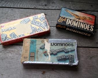 Vintage Lot of 3 Dominoes Sets Complete Eagle Double Nine Whitman Double Nine and Milton Bradley Double Nine