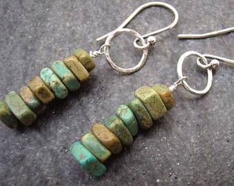 Turquoise Stack Earrings - Rustic Green Stone Earrings - Boho Earrings
