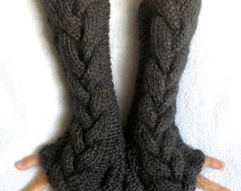 Fingerless Gloves Hand Knitted Earth  Brown Cabled Arm Warmers, Extra Chunky and Warm