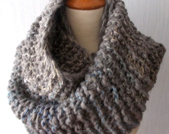 Handknitted  Chunky Cowl Shoulder Warmer in Taupe Grey Brown for Men Women Soft Warm