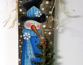 Reclaimed Barn Wood with Painted Snowman, Snowman with Gingerbread and Cookie Cutter Christmas Tree, Hand or Tole Painted, Green Tree