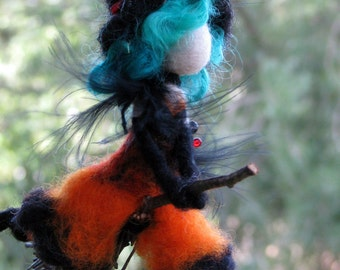 Halloween witch mobile on broomstick Needle felted Waldorf inspired doll
