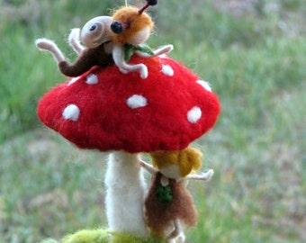 Waldorf inspired Needle felted Children mobile Red mushroom Nursery decor Fantasy mobile Snails children