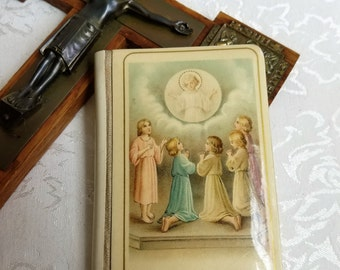"""Vintage Small Prayer Book With Jesus Children On Celluloid Cover Gold Gilt 1925 """"With Jesus Prayers & Instructions For Youthful Catholics"""""""