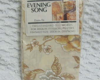 Vintage 1970s Danville Floral Muslin Pillowcase Set Evening Song New Old Stock
