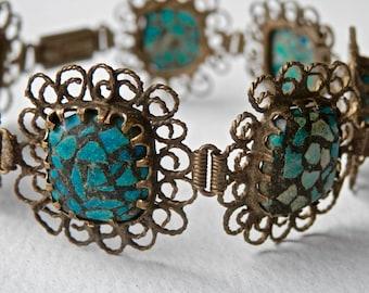 Antique Bracelet Howlite Gilt Gold Filigree Panel Bracelet Art Deco Jewelry