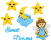Jesse James Button Sweet Dreams Novelty Buttons Fairy Stars Moon Clouds