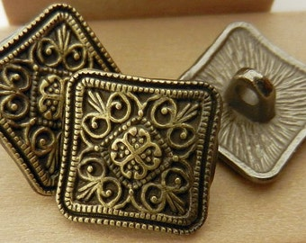 Square Buttons Antique Bronze Filigree 13mm 3pc