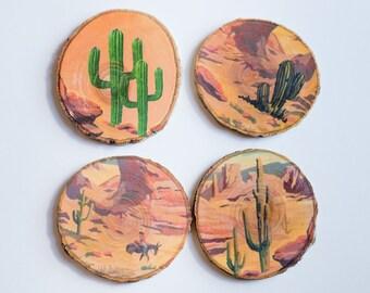 Set of 4 - Desert Cactus Wood Coasters - Rustic Coasters
